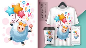 Lamb dream - mockup for your idea. Vector eps 10 stock illustration