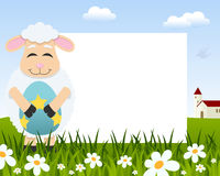 Lamb with Easter Egg Horizontal Frame stock photo