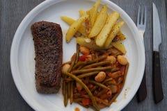 Lamb filet with garlic potatoes royalty free stock images