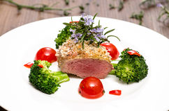 Lamb fillet with broccoli Royalty Free Stock Image
