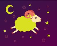 Lamb flies in the starry sky between the stars. illustration baa-lamb symbol of a lullaby and bedtime. Vector Royalty Free Stock Photography