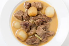 Lamb fricassee with onion from above Royalty Free Stock Photography