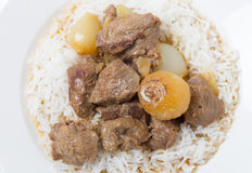 Lamb fricassee with rice from above Royalty Free Stock Image