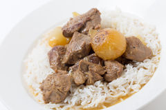 Lamb fricassee with rice angled Stock Image