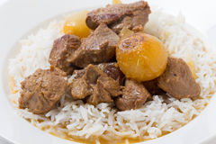 Lamb fricassee with rice side view Stock Images