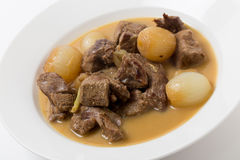 Lamb fricassee with rice side view Royalty Free Stock Photography