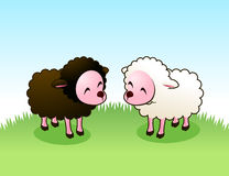 Lamb friends. Brown lam and white Sheep staring happily at each other  illustration Royalty Free Stock Image