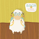 Lamb with glasses and a backpack on his shoulders. Back to school. Vector illustration Stock Photography