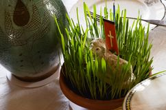 Lamb of God. The Eastern lamb on a  table. Religious decoration Stock Photography