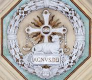 Lamb of God. Stucco decoration, basilica of Saint Paul Outside the Walls, Rome, Italy Royalty Free Stock Photo
