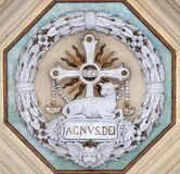 Lamb of God. Stucco decoration, basilica of Saint Paul Outside the Walls, Rome, Italy Stock Photography