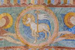Lamb of God, a medieval fresco. Painting in blue, Jorlunde church, Denmark, July 24, 2017 Royalty Free Stock Photos
