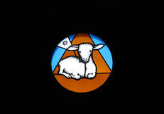 Lamb of God. Stained glass window in the Chapel of Saint Dismas in Zagreb, Croatia Royalty Free Stock Photo
