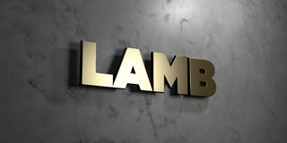 Lamb - Gold sign mounted on glossy marble wall  - 3D rendered royalty free stock illustration Stock Images