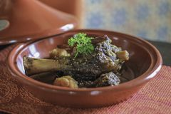 Lamb grilled in Moroccan style stock image
