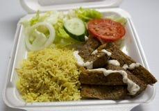 Lamb Gyro Over Rice. Halal Food royalty free stock photos