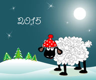 Lamb on the hill. The amusing lamb in a red cap costs on the hill at night under the moon. Symbol of 2015 royalty free illustration