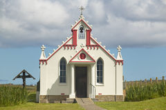 Lamb Holm chapel facade in Orkney. Scotland. UK Stock Image