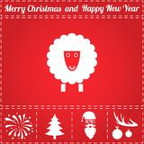 Lamb Icon Vector. And bonus symbol for New Year - Santa Claus, Christmas Tree, Firework, Balls on deer antlers Stock Photos
