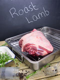 Lamb joint with ingredients and blackboard Royalty Free Stock Photo