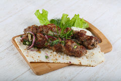 Lamb kebab. With onion and rosemary Stock Photo