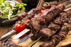 Lamb Kebab. Turkish lamb kebab as close-up on skewer stock image