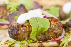 Lamb Kebabs in Flatbread Royalty Free Stock Photography