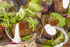 Lamb Kebabs in Flatbread Royalty Free Stock Images
