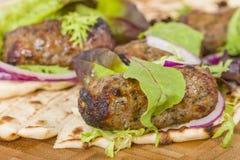 Lamb Kebabs in Flatbread Royalty Free Stock Image