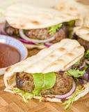 Lamb Kebabs in Flatbread Stock Photo