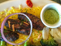 Lamb Kebob. With yellow rice Stock Images