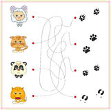 Lamb, kitten, panda and fox with their tracks Royalty Free Stock Image