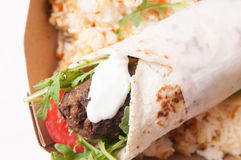 Lamb kofte or gyro with sweet rice Royalty Free Stock Photography