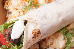 Lamb kofte or gyro with sweet rice Stock Photography