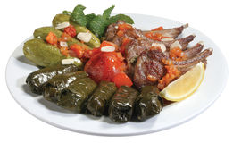 Lamb with Koosa and vine leaves Royalty Free Stock Images