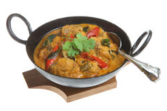 Lamb Korma Indian Curry. Lamb korma curry in an authentic korai serving dish Royalty Free Stock Photos