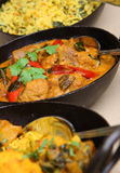 Lamb Korma Indian Curry. Lamb korma with rice and vegetable curry. Selective focus on korma dish Royalty Free Stock Photography