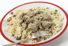 Lamb korma with veg pilau Royalty Free Stock Photo