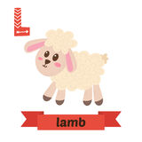 Lamb. L letter. Cute children animal alphabet in vector. Funny c Royalty Free Stock Images