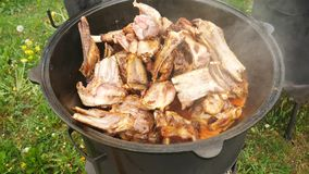 Lamb in a large cast-iron cauldron on fire. royalty free stock photo
