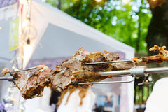 Lamb leg roasted at spit, meat barbecue. Meat barbecue picnic at country fair. Lamb leg roasted at spit. Lamb grill, big piece of meat at rolling skewer. Fresh stock photos