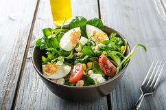 Lamb lettuce salad with eggs Royalty Free Stock Photography