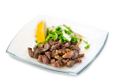 Lamb livers in a creamy sauce with onion Royalty Free Stock Photos