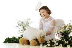Lamb-Loving Angel royalty free stock photos