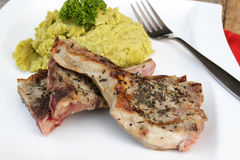 Lamb meat with garnish Stock Images