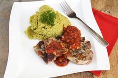 Lamb meat with garnish Royalty Free Stock Photos