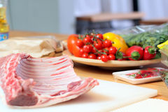 Lamb meat at the kitchen Stock Images