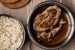 Lamb meat tandoori with rice in pan Stock Image