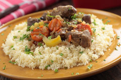Lamb meat with vegetables and couscous Royalty Free Stock Photography