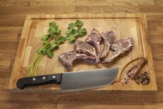 Lamb meet ribs on the cutting board royalty free stock images